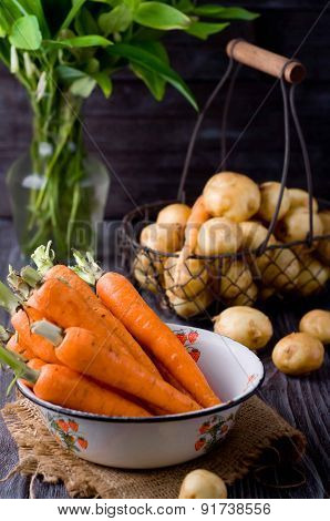 Young Potatoes And Carrots