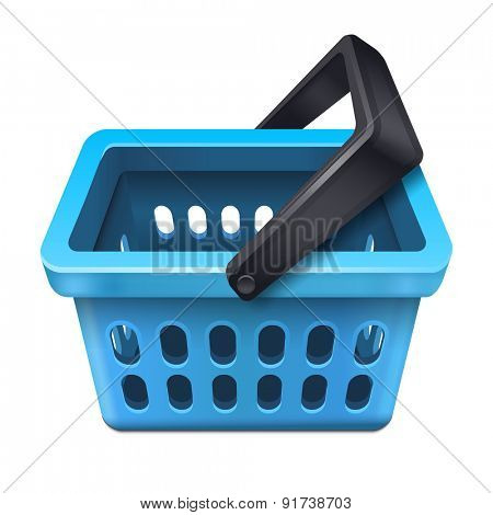 Blue shopping basket icon 10eps