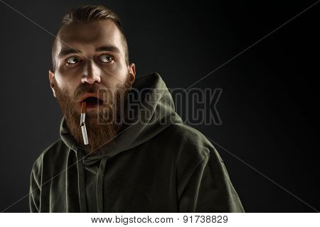Portrait Of A Young Guy To Quit Smoking