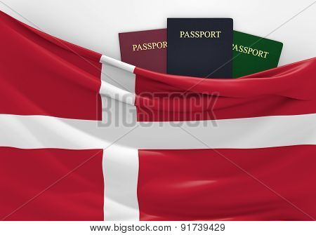Travel and tourism in Denmark, with assorted passports