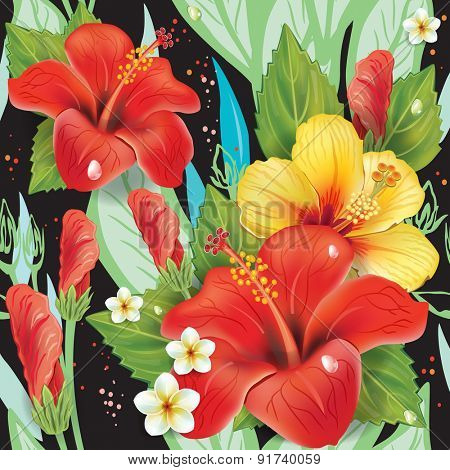 Seamless floral pattern with hibiscus on black