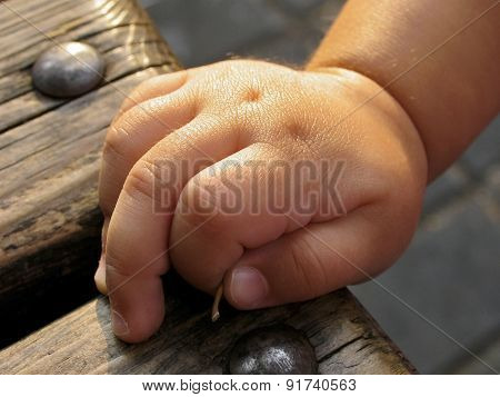 Clenched Hand Of Young Child Closeup
