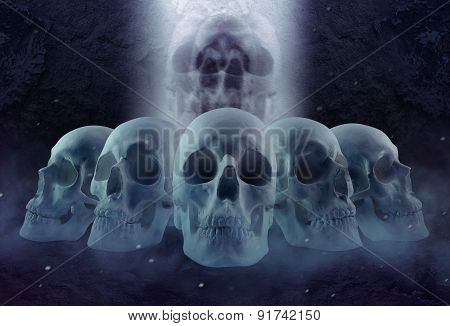 Horror skulls row and mist.