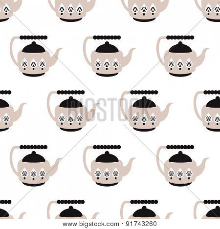 Seamless retro kitchen illustration coffee or tea pot cute background pattern in vector