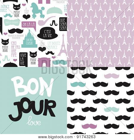 Seamless quirky Paris travel theme patterns and postcard collection hipster mustache poodle and French icons background in vector