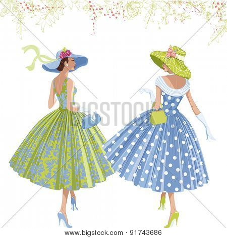Two walking elegant women dressed in style of 1950s isolated on white background.