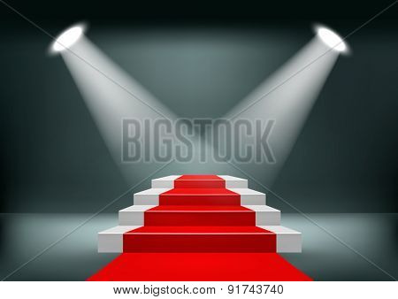 Showroom Background With A Red Carpet. Vector.