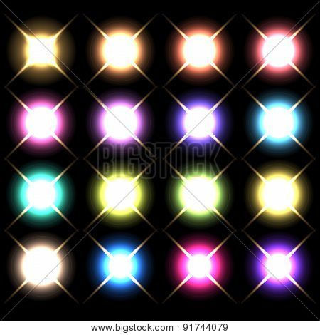 Vector glowing lights, stars and sparkles 3