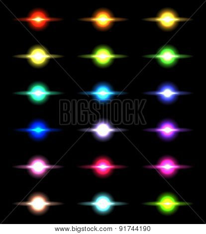 Vector glowing lights, stars and sparkles 5