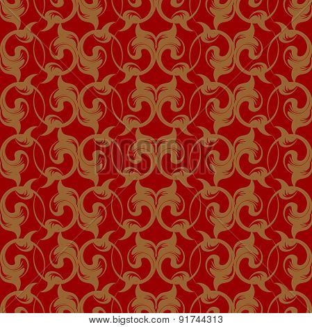 Vector repeating pattern with floral ornament in vintage style.