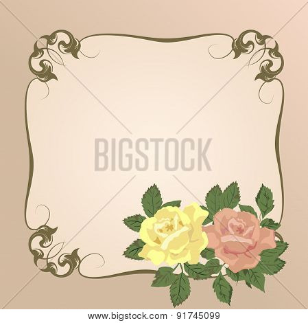 Vector bouquet of roses in a vintage frame.