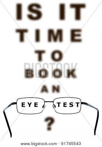 Eye Test Time To Book Chart And Glasses