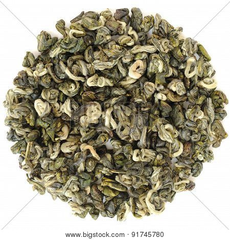 Huoqing Green Tea From Simao, Yunnan, In Round Shape Isolated