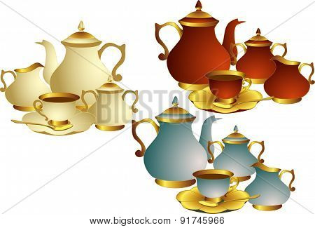 Vector set of utensils for tea or coffee.