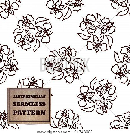 Seamless pattern with bouquet of alstroemerias