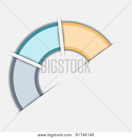 Color Semicircle Template With Text Areas On Three Positions