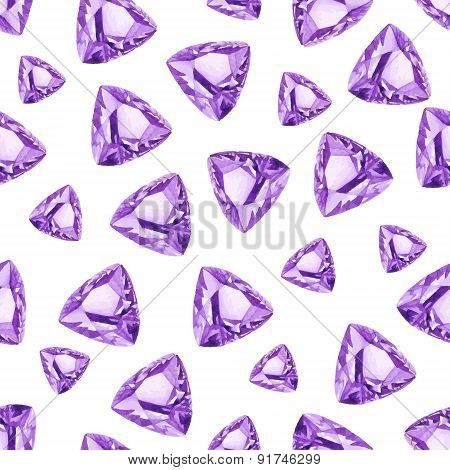 Triangle Amethysts Watercolor Seamless Vector Pattern
