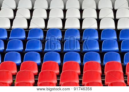 Tribune In The Colors Of The Russian Flag