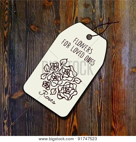 Tag template with bouquet of roses