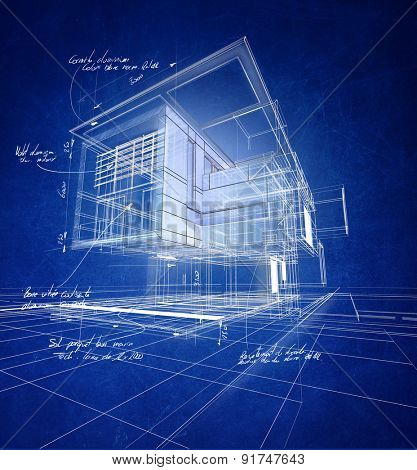 Technical 3D wireframe rendering of a modern villa with scribbled material (aluminum, stone, steel) and technical quotations