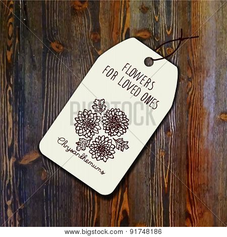 Tag template with bouquet of chrysanthemums