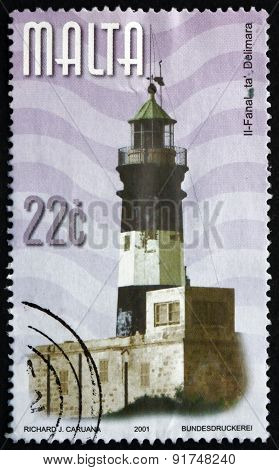 Postage Stamp Malta 2001 Delimara, Lighthouse