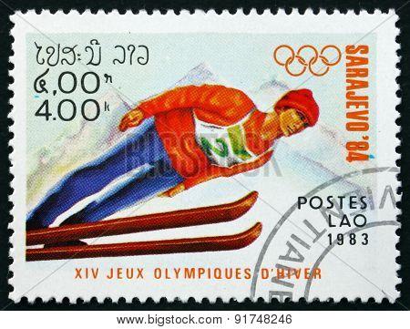 Postage Stamp Laos 1983 Ski Jumping