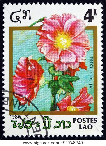 Postage Stamp Laos 1986 Hollyhock, Ornamental Plant