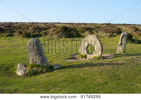 Men-an-Tol megalithic stones in Cornwall, England.