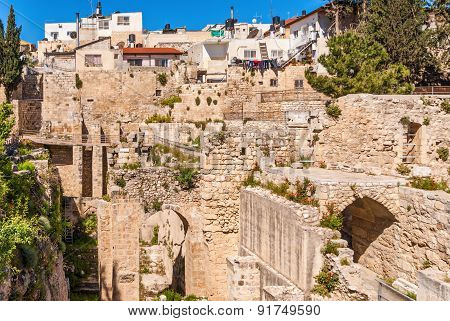 Ancient Pool Of Bethesda Ruins. Old City Jerusalem, Israel.