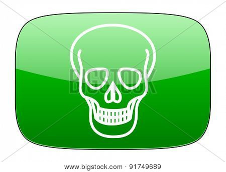 skull green icon death sign