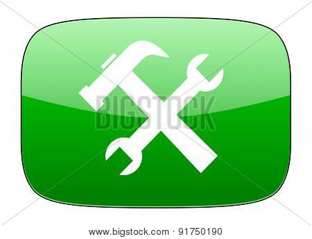 tools green icon service sign