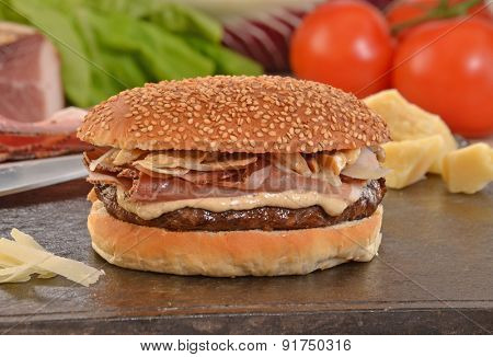 Speck rustic cheese burger and ingredients.