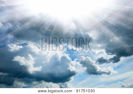 Bright contrast sky background with sun