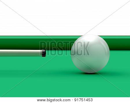 Billiard Ball And Cue