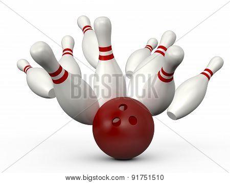 Bowling Ball Crast Into Pins