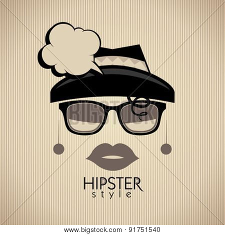 Hipster style vector background with fashion woman and speech bubble.