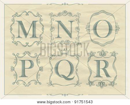Calligraphic letters in monogram retro frames, alphabet logo set - M, N, O, P, Q, R