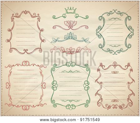 Vintage classical dividers and frame lists collection on a paper