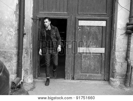 Confident man posing in selvedge  jeans