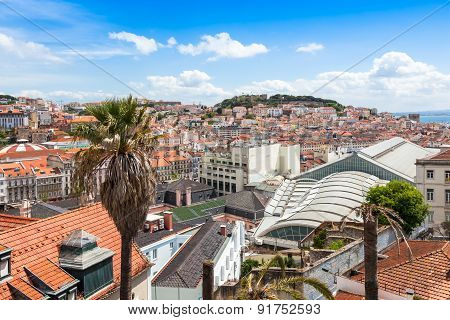 Lisbon Rooftop From Sao Pedro De Alcantara Viewpoint - Miradouro In Portugal