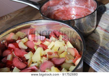 Rhubarb pineapple and stewed rhubarb