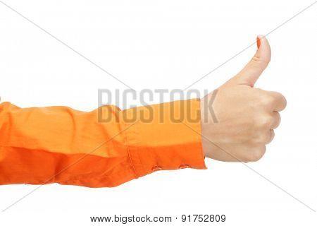 Female hand in orange shirt isolated on white background