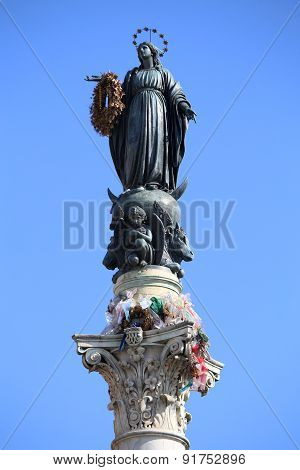 Virgin Mary On Top At Piazza Di Spagna In Rome, Italy