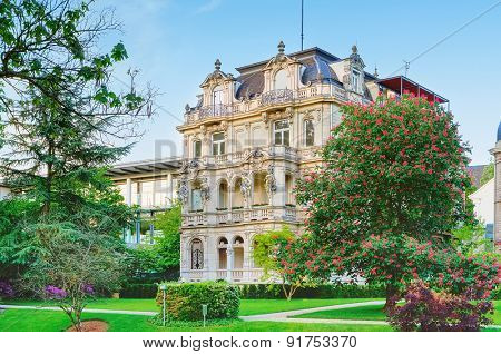 An ancient villa in the city park. Europe, Germany, Baden-Baden.