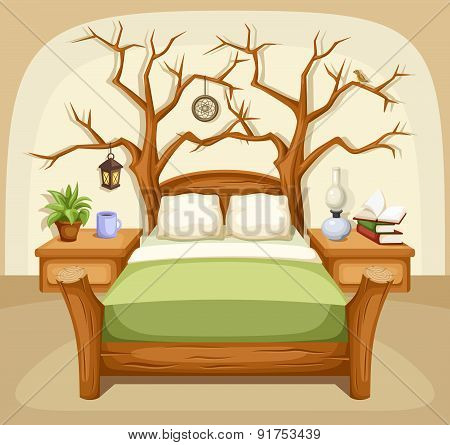 Fantasy bedroom interior. Vector illustration.