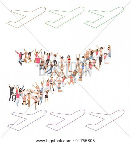 Plane made of Vector Silhouettes Many People