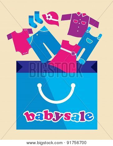shopping bag  with baby toy and cloth icons. illustration