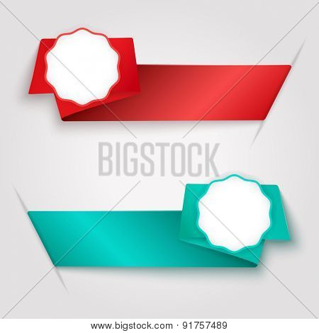 Color ribbon tags with copy space vector template.