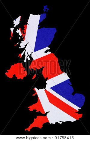 Map Of Great Britain Cut Out With British Flag